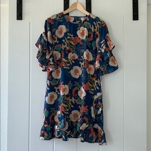 Fun floral dress with ruffled sleeves, NWT!